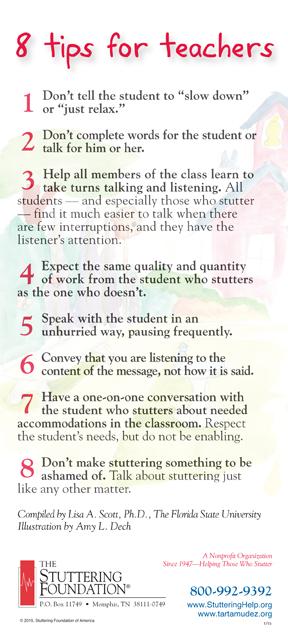 8 Tips For Teachers | Stuttering Foundation: A Nonprofit ...