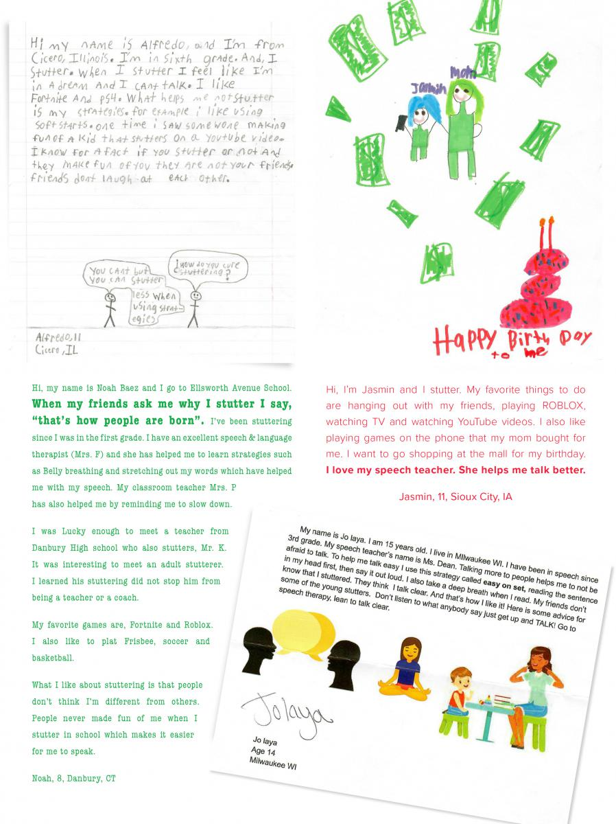 Drawings And Letters From Kids Stuttering Foundation A